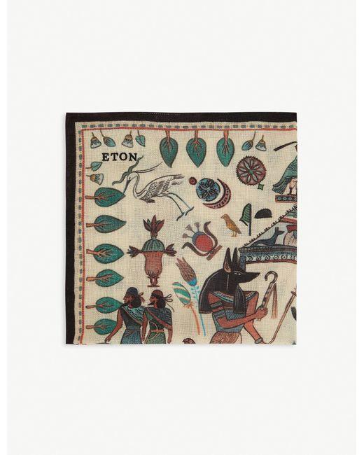 Eton of Sweden Gray Printed Wool Pocket Square for men