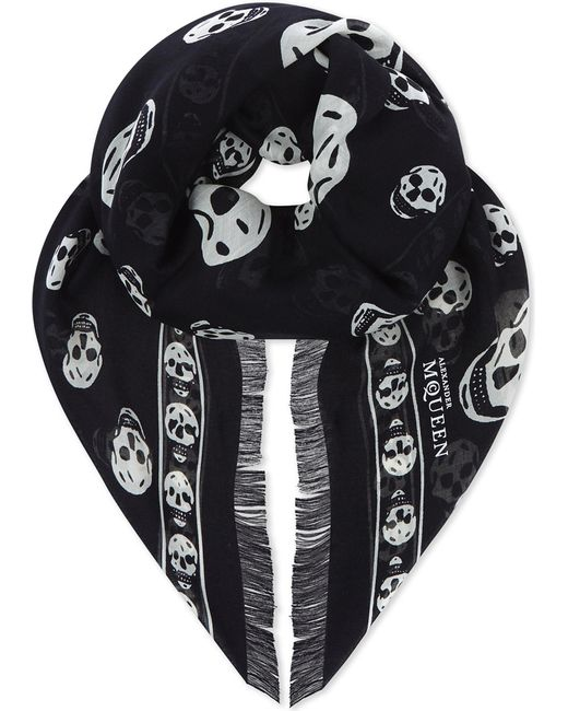 Alexander McQueen   Black Classic Skull Silk Scarf   Lyst