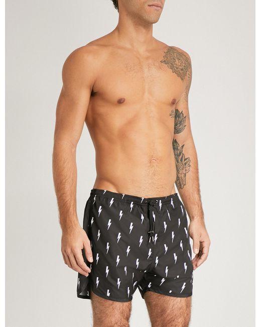 Neil Barrett   Black Thunderbolt-print Swim Shorts for Men   Lyst