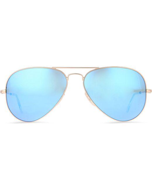 Ray-Ban Original Aviator Metal-frame Sunglasses With Blue Lenses ...