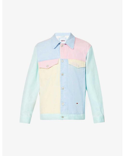 Tommy Hilfiger Blue Colour Block Logo-embroidered Denim Jacket for men