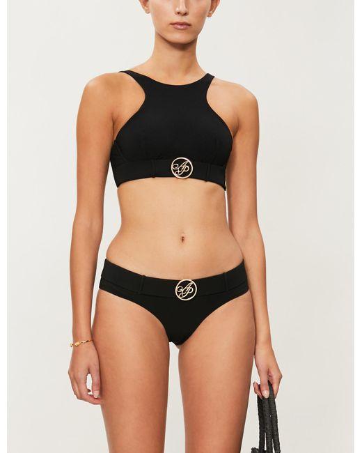 Agent Provocateur Black Laurella Low-back Bikini Top