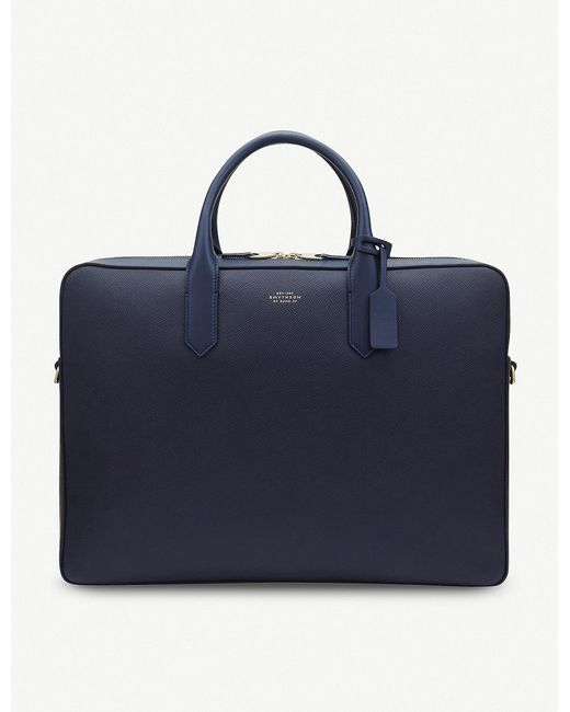 Smythson - Blue Panama Large Leather Briefcase for Men - Lyst