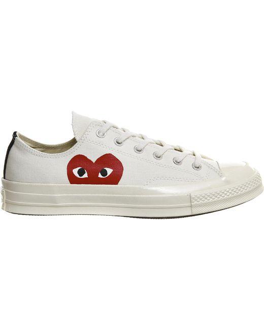 COMME DES GARÇONS PLAY - Red Large Emblem Low Top Canvas Sneakers for Men - Lyst