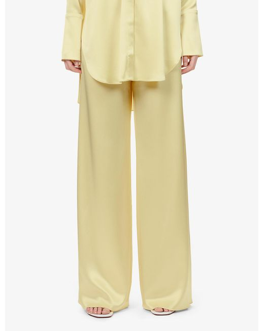 16Arlington Yellow Relaxed Wide-leg High-rise Satin Trousers