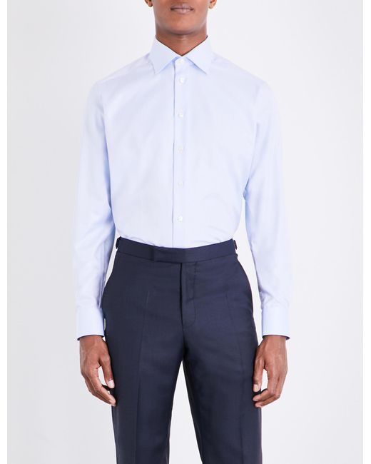 Eton of Sweden Blue Contemporary-fit Single-cuff Cotton-twill Shirt for men