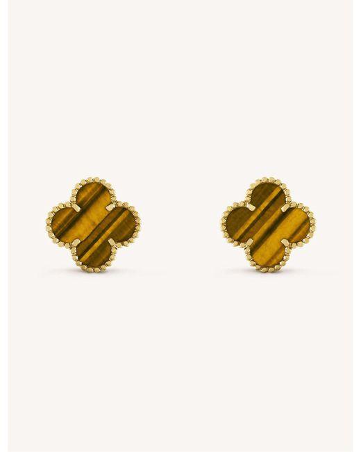 Van Cleef & Arpels - Metallic Vintage Alhambra Gold And Tiger's Eye Earrings - Lyst