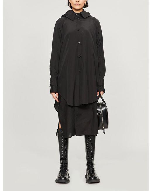 Yohji Yamamoto Black Hooded Rayon And Cotton-blend Coat