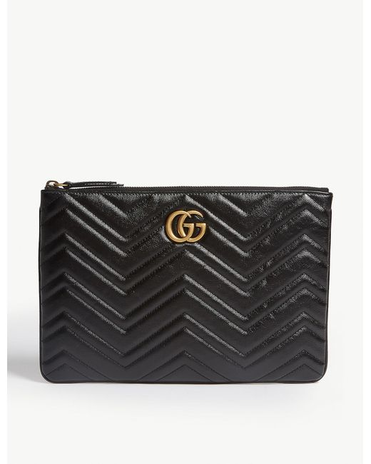 Gucci Black GG Marmont Quilted Leather Pouch