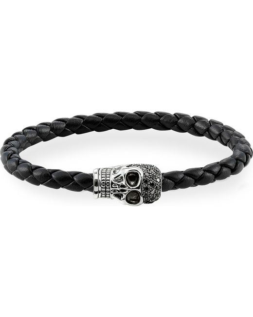 Thomas Sabo - Black Unity Plaited Leather Embellished Skull Head Bracelet - Lyst