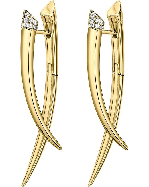 Shaun Leane | Metallic Crossover Tusk Yellow Gold Vermeil And Diamond Earrings | Lyst