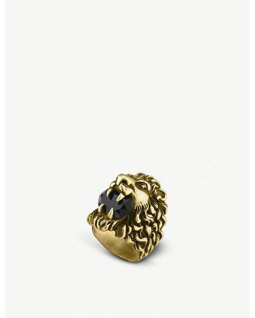 e6a62345c6c Gucci Lion Head Aged Metal Ring in Metallic for Men - Lyst