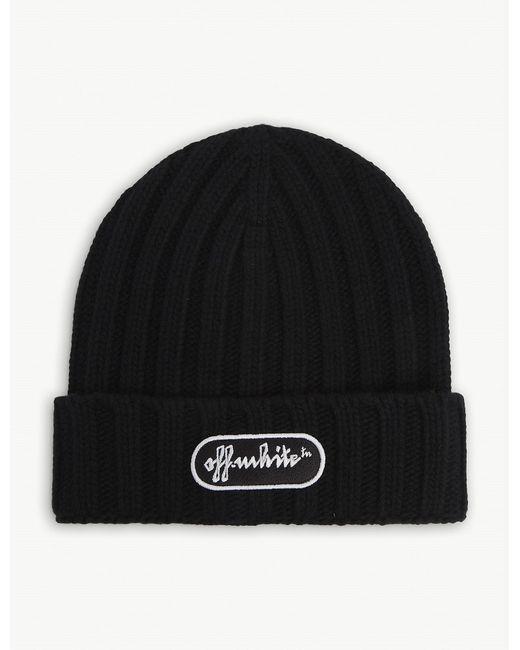 Off-White c/o Virgil Abloh Black Logo-embroidered Wool Beanie Hat