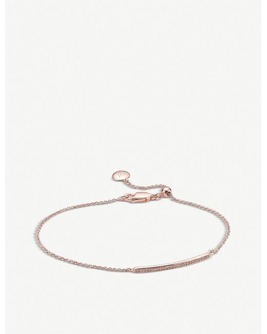 Monica Vinader   Metallic Skinny Short Bar 18ct Rose Gold-plated Diamond Bracelet   Lyst