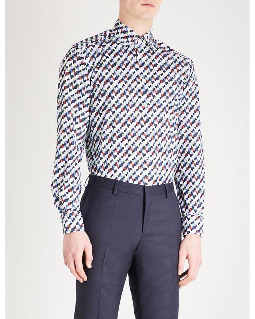 Eton of Sweden - Blue Geometric Pattern Slim-fit Cotton Shirt for Men - Lyst