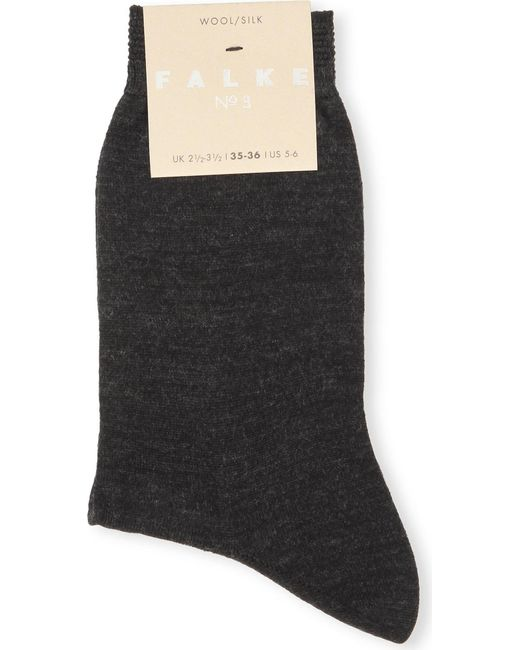 Falke Black No 3 Wool-silk Socks