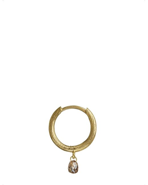 Annoushka - Black 18ct Gold And Brown Diamond Hoop Earring - Lyst