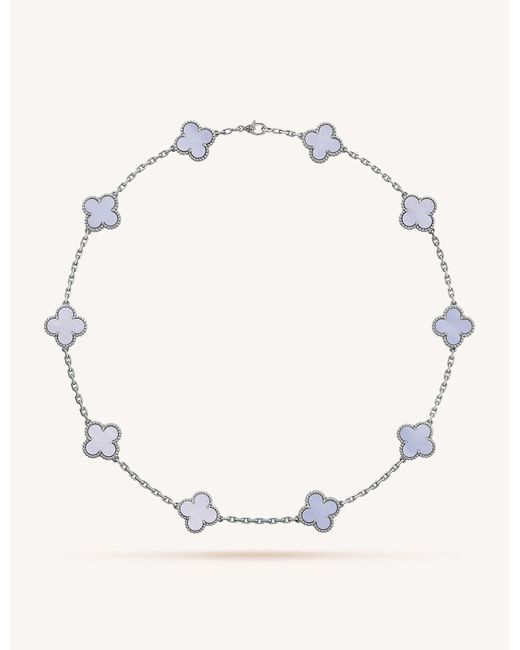 Van Cleef & Arpels - Metallic Vintage Alhambra Gold And Chalcedony Necklace - Lyst