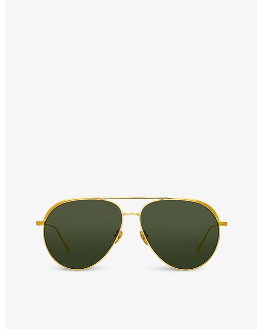 Linda Farrow Green Roberts Lfl1078 C1 22ct Yellow Gold-plated Titanium Aviator-frame Sunglasses
