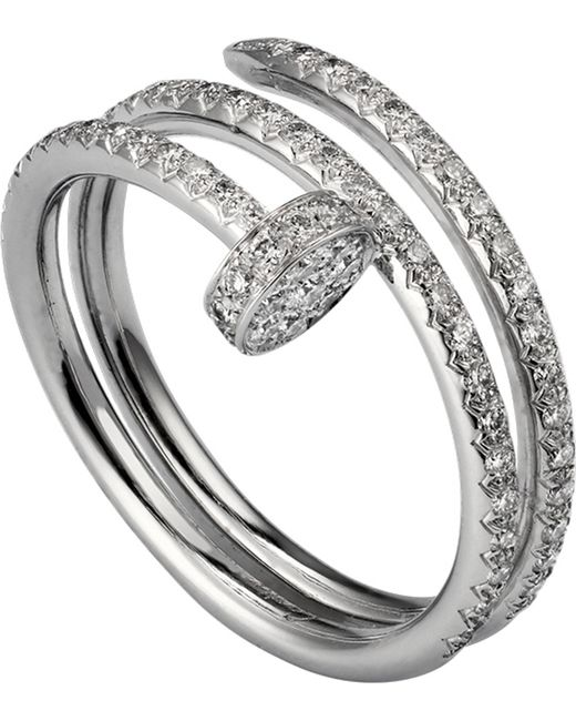 Cartier - Metallic Juste Un Clou 18ct White-gold And Diamond Double Ring - Lyst