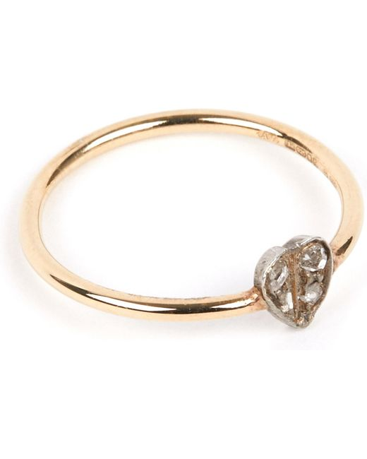 Annina Vogel - Metallic 9 Carat Gold And Diamond Heart Ring - Lyst