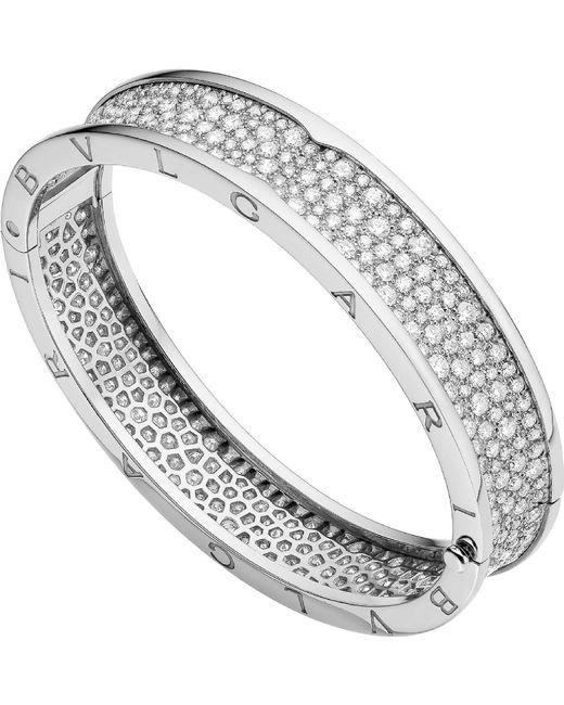 BVLGARI - Metallic B.zero1 18kt White-gold And Diamond Bangle - Lyst