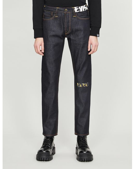 Evisu Blue Foil-print Straight Jeans for men