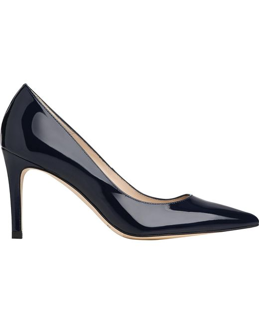 L.K.Bennett Women's Navy Blue Floret Pointed Leather Courts