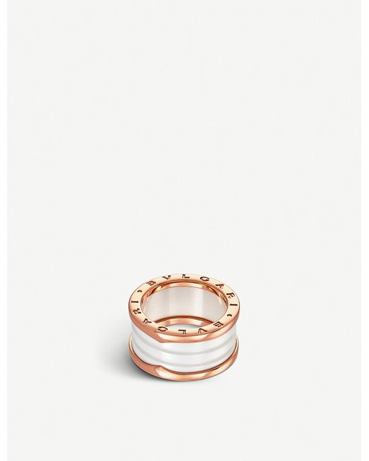 BVLGARI Women's Pink B.zero1 Four-band 18kt Pink-gold And Ceramic Ring
