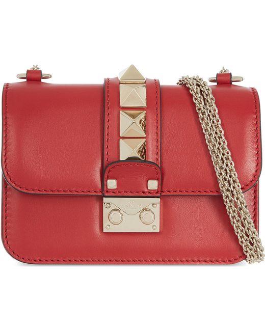 Valentino - Red Rockstud Lock Mini Clutch Bag - Lyst
