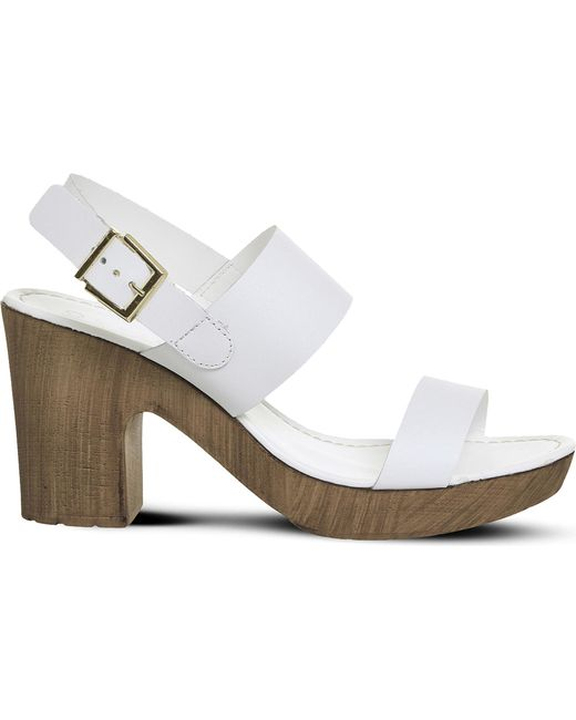 Office | White Michelle Leather And Wood-effect Sandals | Lyst