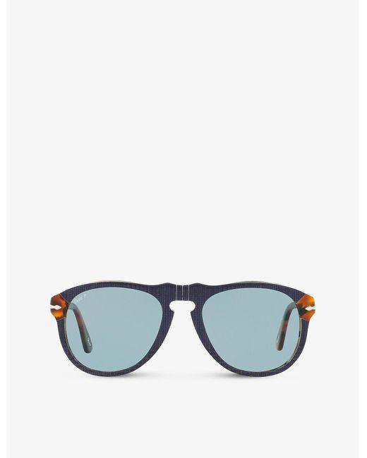 Persol Blue Po0649 Acetate Aviator Sunglasses for men