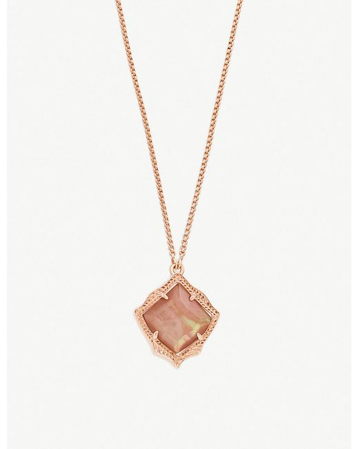 Kendra Scott - Kacey 14ct Gold-plated And Brown Mother Of Pearl Necklace - Lyst