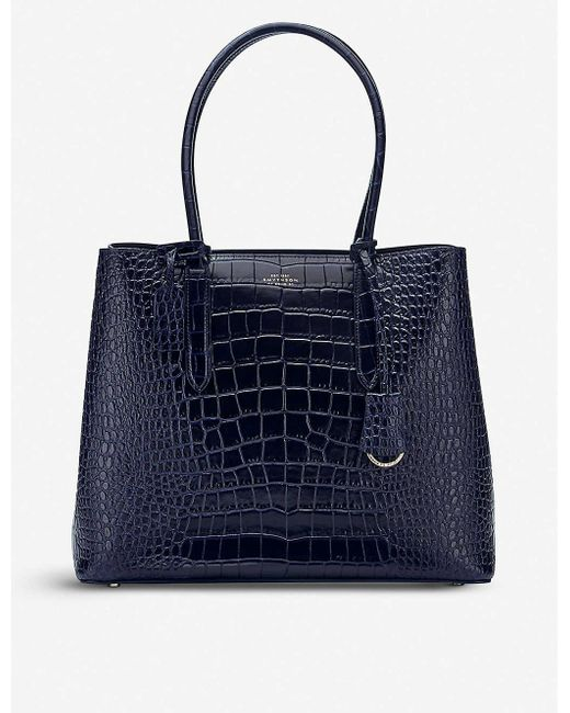 Smythson Blue Mara Ciappa Business Leather Bag