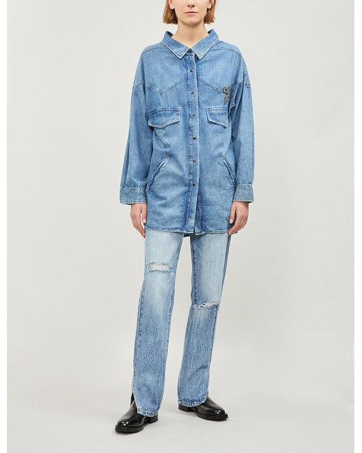 The Kooples - Blue Fleur De Lys-embellished Denim Shirt - Lyst