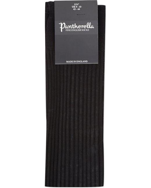 Pantherella Black Cotton Ribbed Knee-high Socks for men