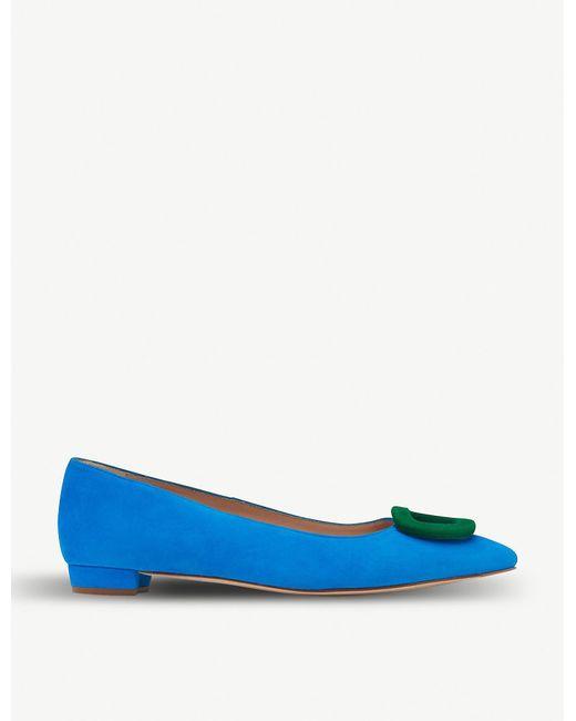 L.K.Bennett Blue Janice Buckle-trim Suede Flats