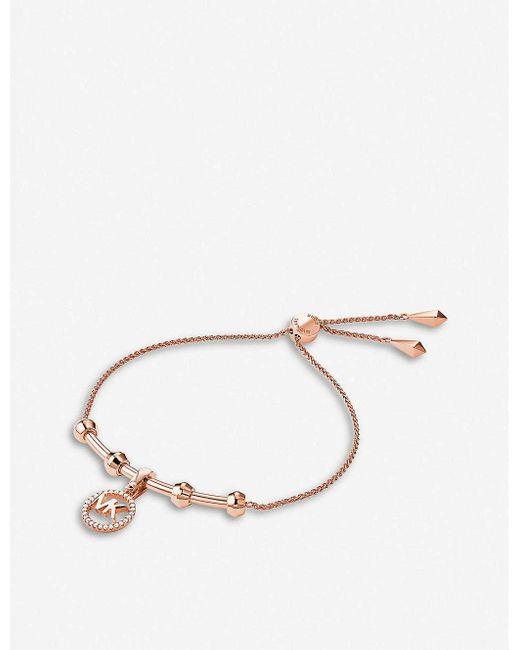 Michael Kors Metallic Custom Kors Monogrammed Rose Gold-plated Bracelet