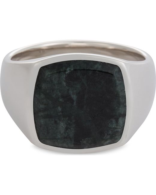 Tom Wood | Green Marble Silver Signet Ring for Men | Lyst