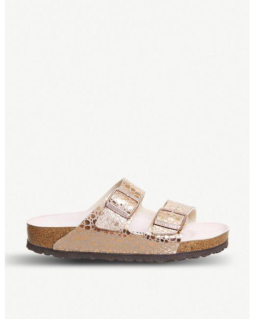 Birkenstock Arizona Pebble-print Metallic Sandals