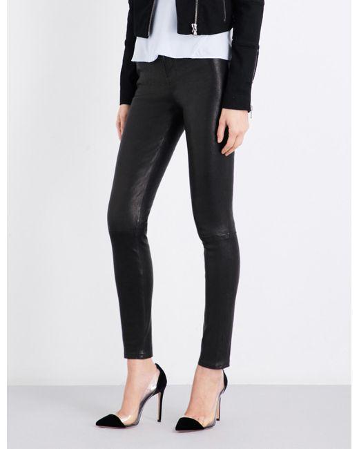 J Brand Black Maria Skinny Leather Jeans