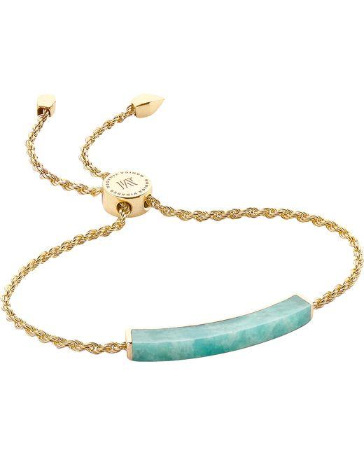 Monica Vinader - Metallic Linear 18ct Gold-plated Amazonite Bracelet - Lyst