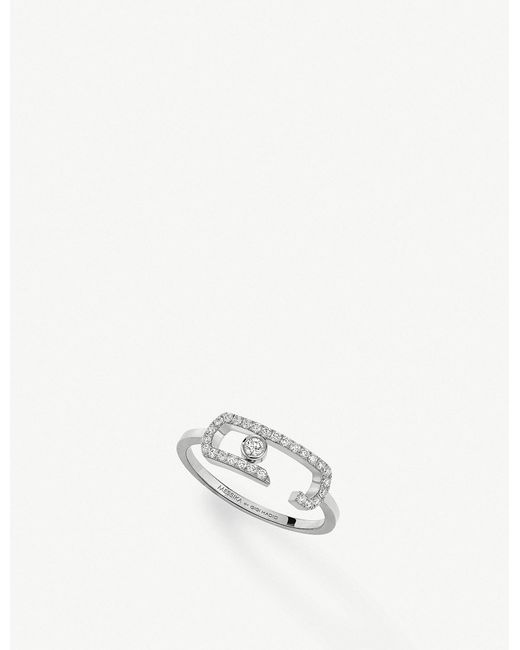 Messika - White Gigi Hadid Move Addiction 18ct Yellow-gold Diamond Ring - Lyst