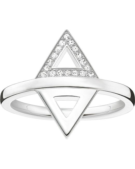 Thomas Sabo - Metallic Triangle Sterling Silver And Diamond Ring - Lyst