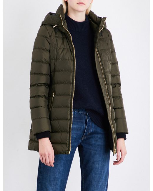 Burberry - Green Linefield Quilted Down And Feather-blend Coat - Lyst