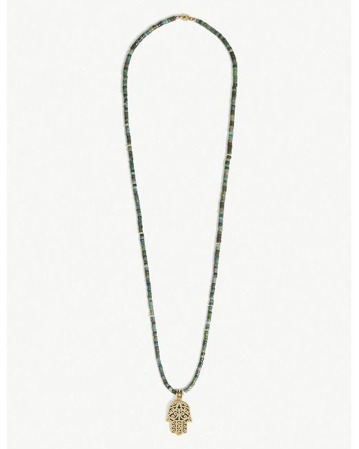 Nialaya - Metallic Jade Hamsa Penchant Bead Necklace for Men - Lyst