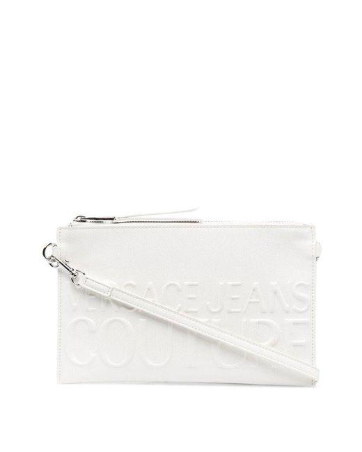 Versace Jeans White Logo-embellished Clutch Bag