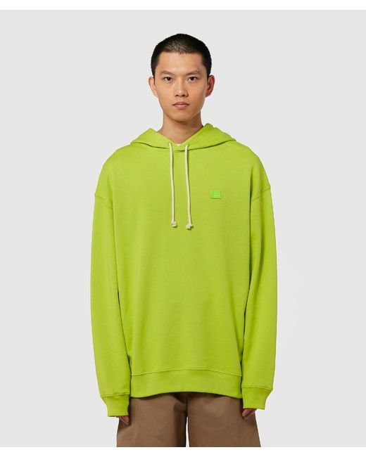Acne Green Farrin Face Hooded Sweatshirt for men