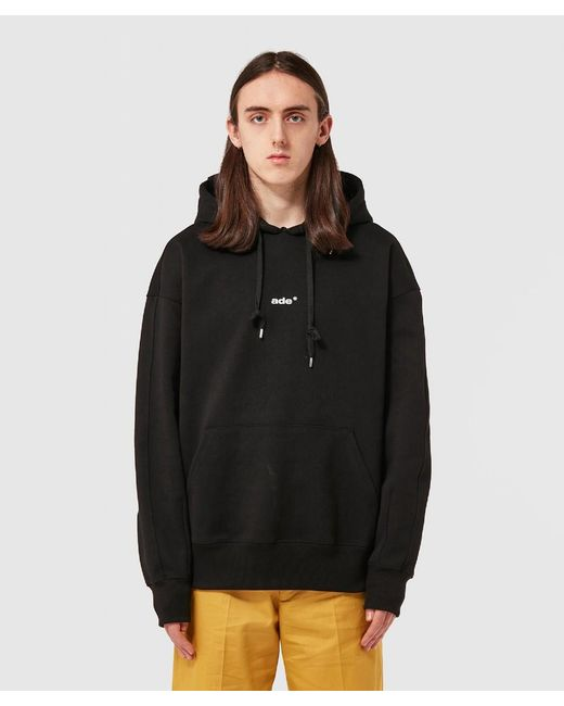 ADER ERROR Black Stitched Lace Hoodie for men