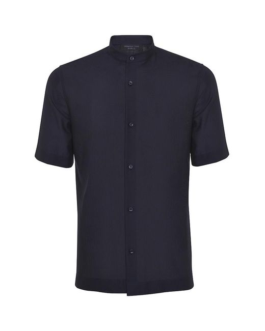 Shanghai Tang Blue Band Collar Cotton Mesh Short Sleeve Shirt for men